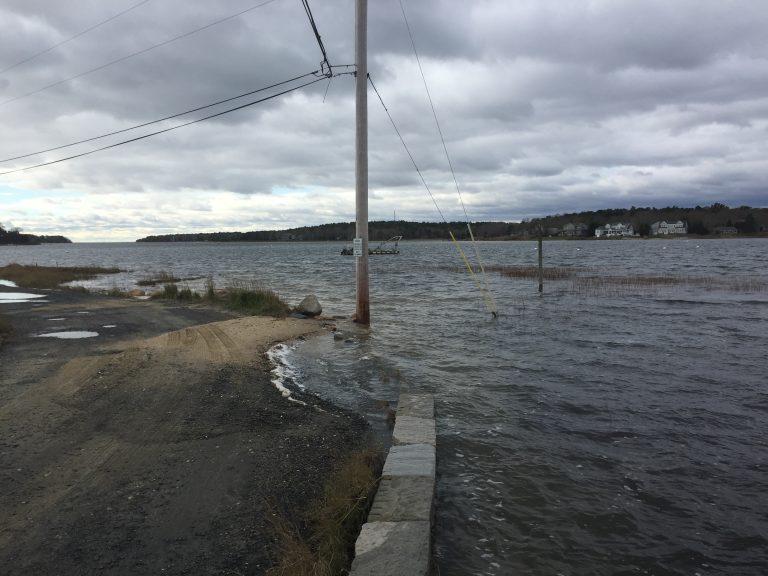 Flooding on Salt Marsh Lane in Bourne during a moon tide storm event in 2020.